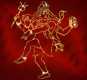 Hindu deity lord Shiva on a sparkling red background Stock Photography