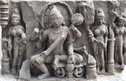 Hindu Deity Madhya Pradesh. Ancient Stone Carvings of Central India depicting Hindu Deity. These idols found during excavations in different areas of Western Royalty Free Stock Photos