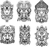 Hindu deity masks. Set of black and white vector illustrations Stock Photo