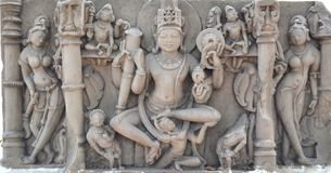 Ancient Sclupture of Hindu Deity. Ancient Stone Carvings of Central India depicting Hindu Deity. These idols found during excavations in different areas of Royalty Free Stock Image