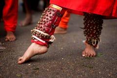 Hindu devotee. Close up of a devotee's leg at Thaipusam event celebrating Lord Murugan, Batu Caves, Kuala Lumpur, Malaysia Royalty Free Stock Image