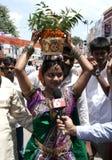 Hindu devotee carry bonam to the mahankkali Royalty Free Stock Image