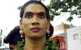Hindu devotee with makeup as mahankali in Bonalu annual festival. In procession to temple on June 25,2017 in Hyderabad Stock Photos
