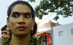 Hindu devotee with makeup as mahankali in Bonalu annual festival. In procession to temple on June 25,2017 in Hyderabad Stock Image