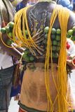 Hindu Devotee at Thaipusam Celebration. Hindu devotee with his body pierced by hooks at Malaysia's Thaipusam celebration. This annual celebration was held at the Stock Photography