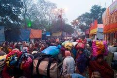 Hindu devotees , Babughat, Kolkata. BABUGHAT, KOLKATA, WEST BENGAL / INDIA - 9TH JANUARY 2013 : Hindu devotees on 9th January, 2013 in Babughat transit Camp Royalty Free Stock Photography