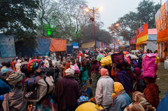 Hindu devotees , Babughat, Kolkata. BABUGHAT, KOLKATA, WEST BENGAL / INDIA - 9TH JANUARY 2013 : Hindu devotees on 9th January, 2013 in Babughat transit Camp Stock Photo