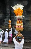 Hindu Devotees. Balinese Hindu Devotees carrying their offerings to the Tanah Lot Temple on the island of Bali, Indonesia stock photography