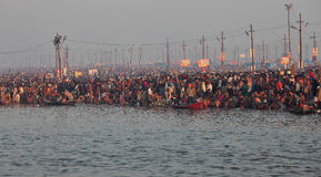 Hindu devotees at Kumh Mela festival Royalty Free Stock Image
