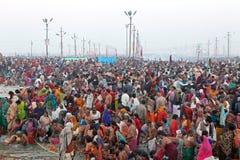 Hindu devotees at Kumh Mela festival Royalty Free Stock Images