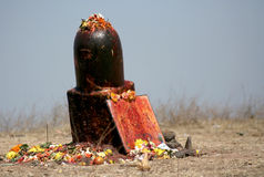 Hindu devotees perform puja to lord siva made out of stone Royalty Free Stock Image