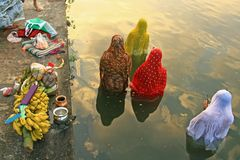 Devotees are praying in a water body during the Chhath Festival in Kolkata, India. The hindu devotees are praying to sun god in a water body during the Chhath royalty free stock photography