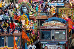Hindu devotees transport Ganesha Idols Stock Images