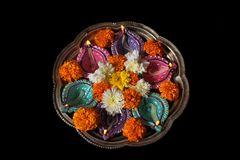 Hindu Diwali Ritual Plate royalty free stock photography