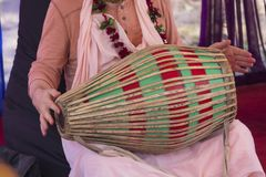 Hindu with a drum performs a cult rite. Religion Royalty Free Stock Photos