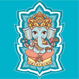 Hindu elephant God Lord Ganesh. Hinduism. Happy Ganesh Chaturthi. Vector elements . Hand drawn paisley background. Indian, Hindu motifs. Henna tattoo, yoga royalty free illustration