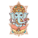 Hindu elephant head God Lord Ganesh. Hindu elephant God Lord Ganesh. Hinduism. Happy Ganesh Chaturthi. Vector elements . Hand drawn paisley background. Indian stock illustration