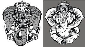 Hindu elephant. Lord Ganesha. Tattoo design with lion Hindu elephant Lord Ganesha vector illustration