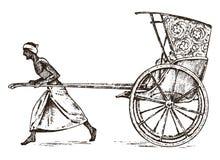 Hindu farmer with Rickshaw, working with a cart royalty free illustration