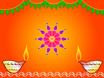 Hindu festival diwali design. With colorful rangoli, deorated mango leaves and lamps
