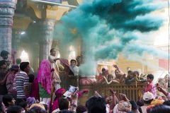 Holi Indian Hindu Festival Shri Dwarkadhish temple, Mathura India  - March 27 2013 - People celebrating holi inside temple Royalty Free Stock Photos