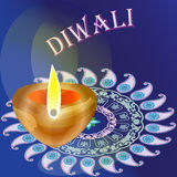 The Hindu festival of lights Diwali, beautiful poster, backgroun. D, card, design a card with a lamp and pattern in Indian style Stock Images
