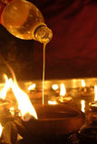 Hindu festival oil lamp Stock Photo