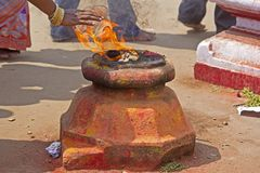 Hindu fire purification Stock Photo