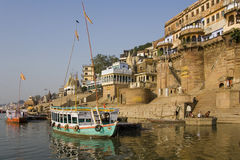 Hindu Ghats - River Ganges - Varanasi Royalty Free Stock Images