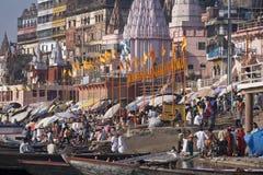Hindu Ghats on the River Ganges - Varanasi - India. Crowds of devotees at the Hindu Ghats on the Holy River Ganges in Varanasi (Benares) in northern India Royalty Free Stock Photography