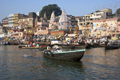 Hindu Ghats on the River Ganges - Varanasi - India. Crowds of devotees at the Hindu Ghats on the Holy River Ganges in Varanasi (Benares) in northern India Royalty Free Stock Photo