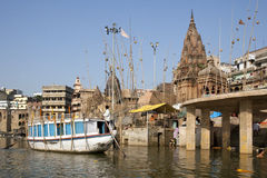 Hindu Ghats on the River Ganges - Varanasi - India Royalty Free Stock Photo