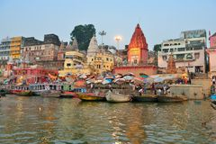 Hindu Ghats in Varanasi Royalty Free Stock Photo