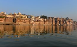 Hindu Ghats in Varanasi. Dawn view of Ghat in Varanasi on the Ganges River Royalty Free Stock Photography