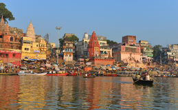 Hindu Ghats in Varanasi. Dawn view of Prayaga & Dasaswamedh Ghat, which are the main ghats in Varanasi on the Ganges River. Ganga Aarti Ceremony is held here Royalty Free Stock Photos