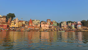 Hindu Ghats in Varanasi. Dawn view of Prayaga & Dasaswamedh Ghat, which are the main ghats in Varanasi on the Ganges River. Ganga Aarti Ceremony is held here Stock Images