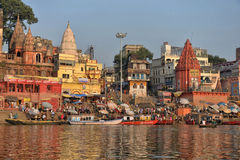 Hindu Ghats in Varanasi. Dawn view of Prayaga & Dasaswamedh Ghat, which are the main ghats in Varanasi on the Ganges River. Ganga Aarti Ceremony is held here Royalty Free Stock Photography