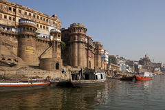 Hindu Ghats - Varanasi in India. The Hindu Ghats on the banks of the holy River Ganges (Ganga) in the city of Varanasi (Benares) in the Uttar Pradesh region of Royalty Free Stock Photography