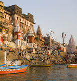 Hindu Ghats - Varanasi - India. Hindu Ghats on the banks of the Holy River Ganges (Ganga) in Varanasi (Benares) in the Uttar Pradesh region of northern India Stock Photography