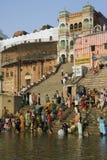 Hindu Ghats - Varanasi - India. The Hindu Ghats on the banks of the Holy River Ganges Ganga in the city of Varanasi Benares in the Uttar Pradesh region of India Stock Photography