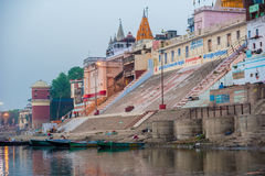 Hindu Ghats - Varanasi in India. Colorful ancient city of Benares and its bathing ghats along the bank of river Ganges Stock Images