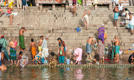 Hindu Ghats - Varanasi in India Royalty Free Stock Images