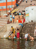 Hindu Ghats - Varanasi in India Stock Photo