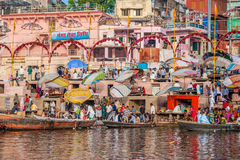 Hindu Ghats - Varanasi in India Royalty Free Stock Image