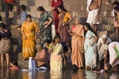 Hindu Ghats in Varanasi - Uttar Pradesh - India Royalty Free Stock Images
