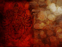 Hindu God Ganesh with Many Arms Red Grunge. Hindu God Ganesh with Many Arms Carved Wall Relief on Exterior of Hindu Temple in Red Grunge Texture Background Stock Image