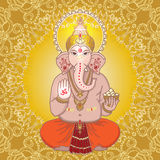 Hindu god Ganesha on a gold mandala background. Sign OM on his h Stock Images