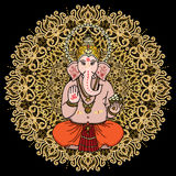 Hindu god Ganesha on a gold mandala background. Sign OM on his h Stock Photography