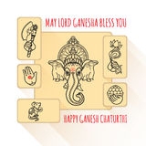 Hindu God Ganesha. Hand drawn tribal style. Vector. Stock Image
