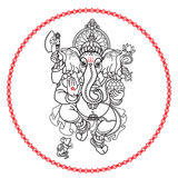 Hindu God Ganesha. Hand drawn tribal style. Vector. Royalty Free Stock Image